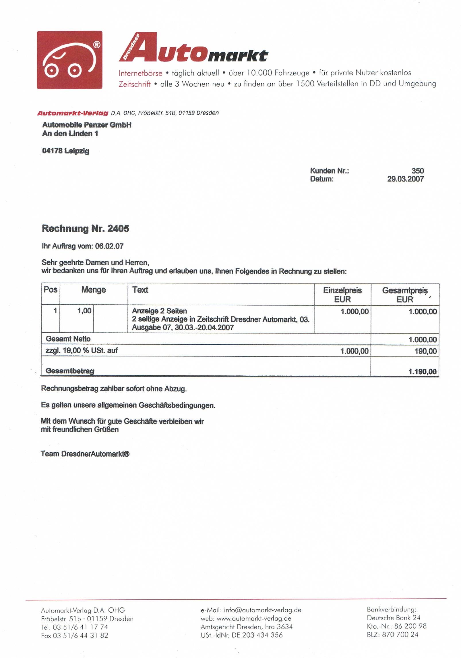 Wunderbar Gebrauchtwagen Rechnungsvorlage Bilder - Beispiel Business ...